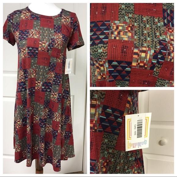 5d79f9cc5312 LuLaRoe Dresses   Just Innwt Red Patchwork Carly Dress   Poshmark